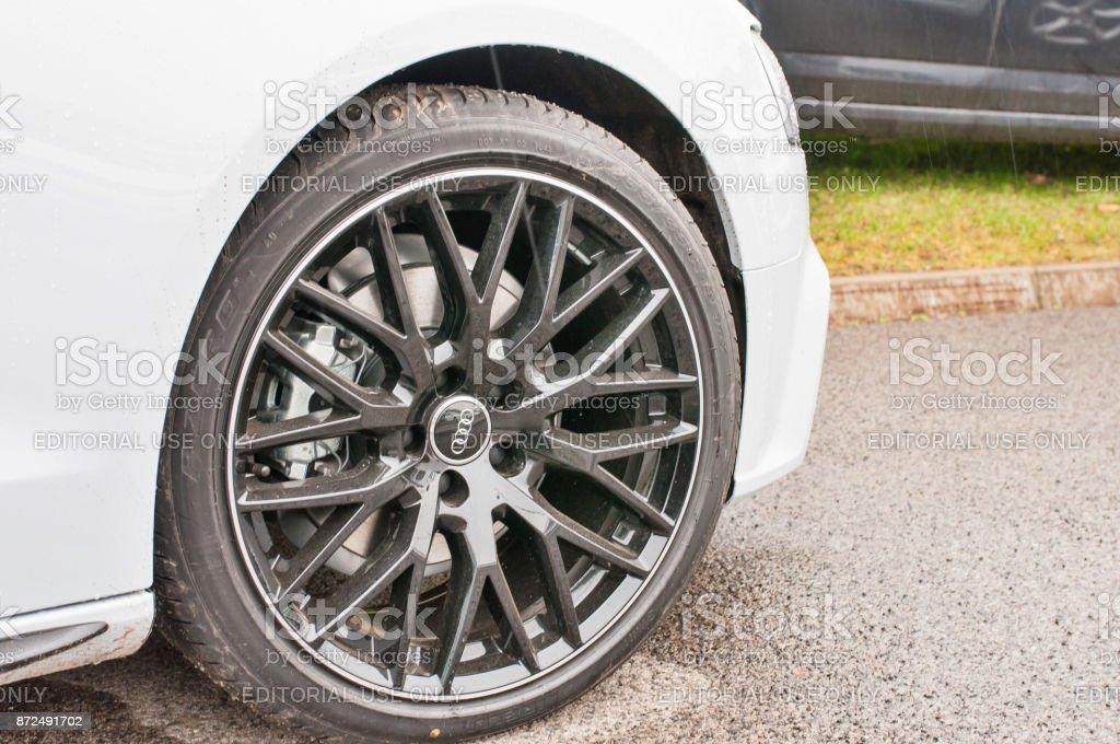 Closeup of car wheel new Audi quattro stock photo