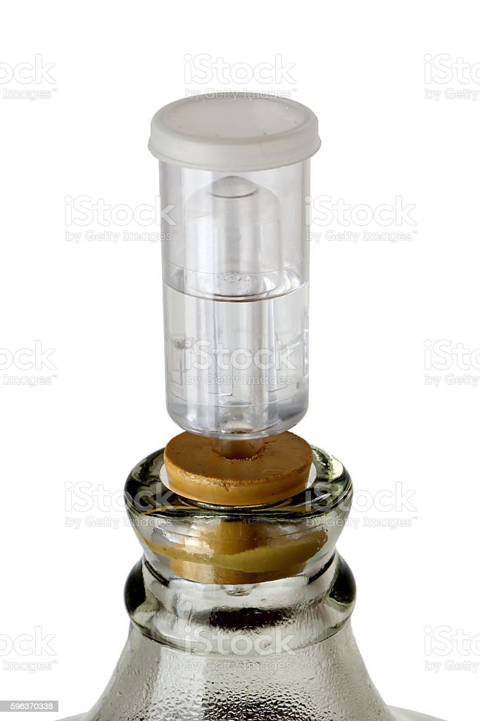 Close-up of Carboy Airlock used during Fermentation of Homebrew Beer stock photo