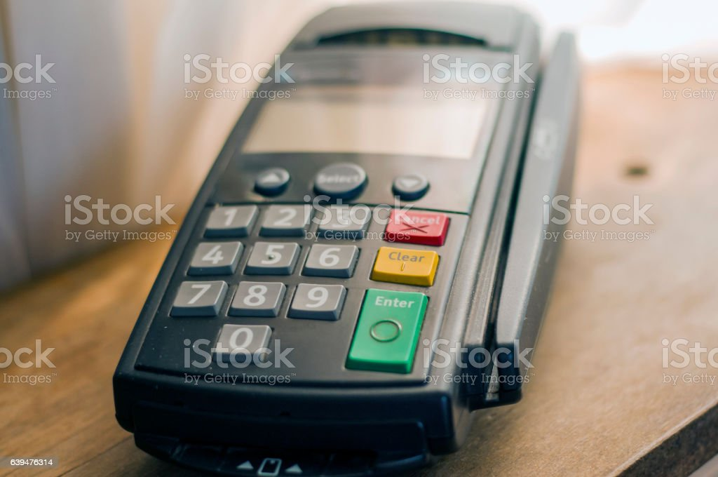 Close-up of cards servicing with POS-terminal, stock photo