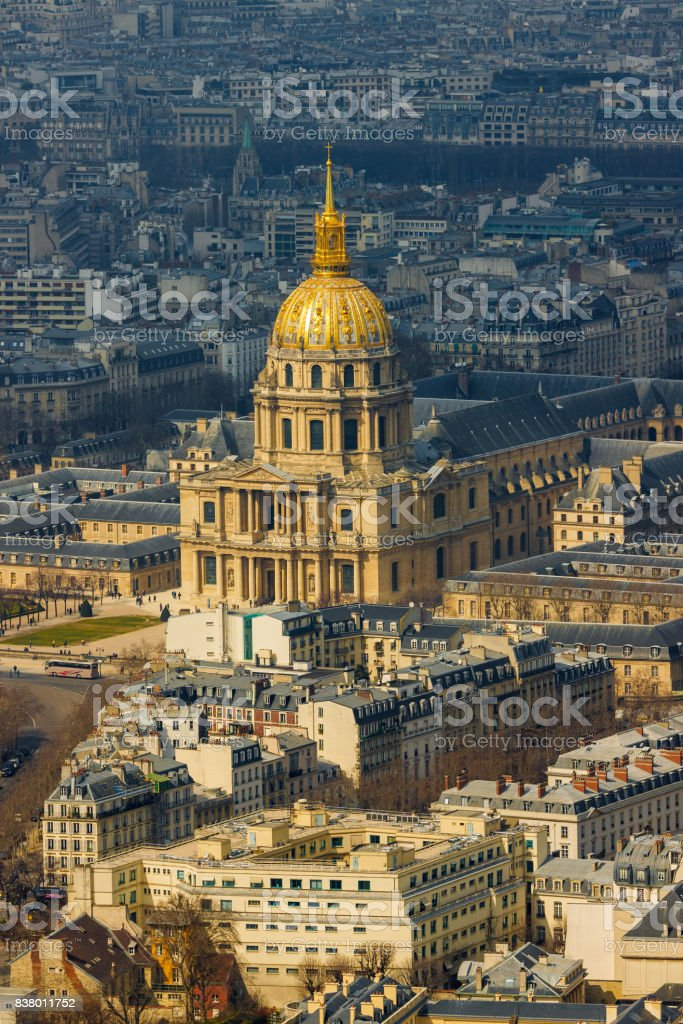 Close-up of cathedral of Les Invalides with Napoleon's tomb in Paris stock photo