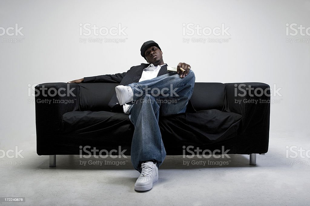 Close-up of celebrity with aggressive pose stock photo