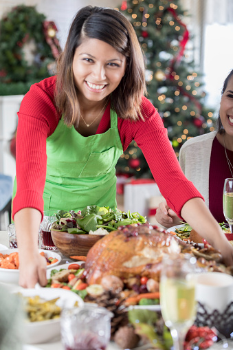 istock Closeup of Cheerful Christmas dinner hostess bringing Turkey 842026414