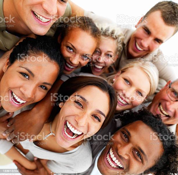 Closeup Of Cheerful Friends Stock Photo - Download Image Now