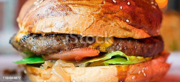 Close-up of Cheeseburger