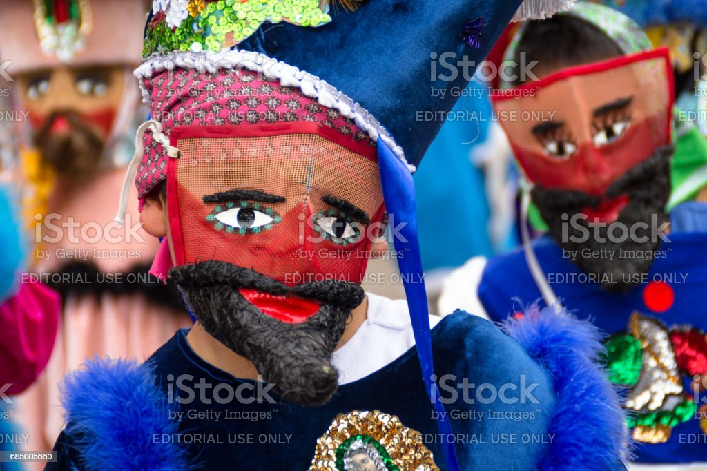 Closeup of chinelo mask stock photo
