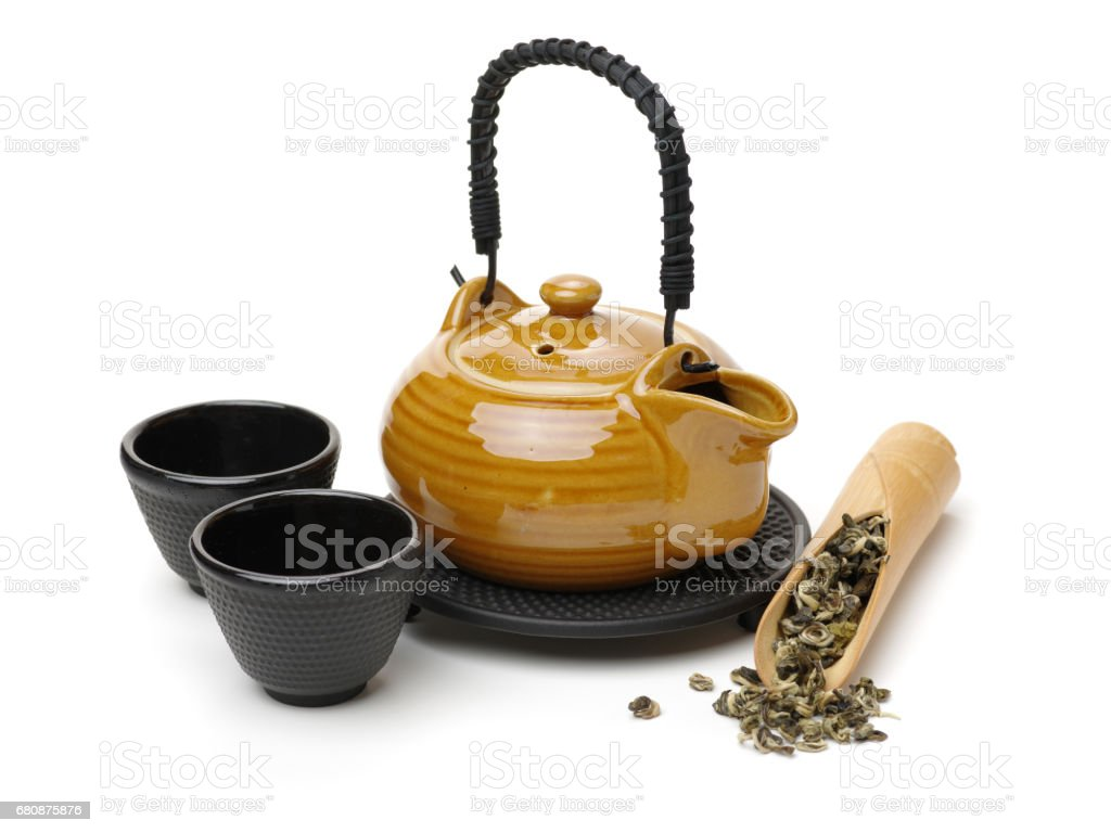 Closeup of chinese tea set on white background stock photo