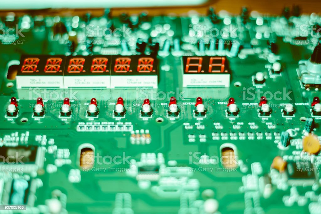 closeup of chip on electronic board stock photo