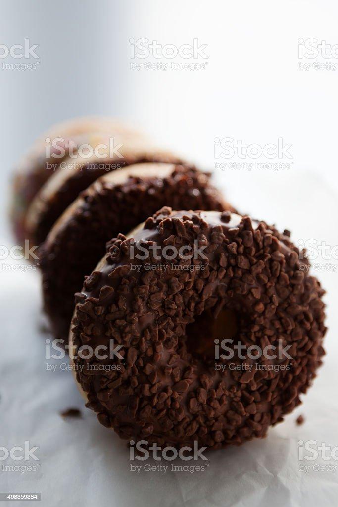 Closeup of chocolate doughnuts royalty-free stock photo