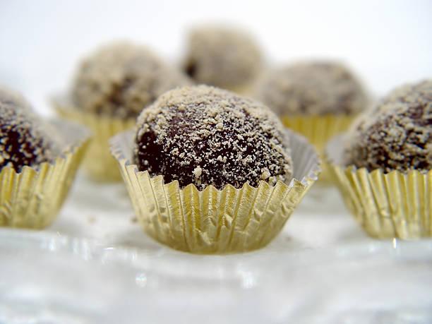 Closeup of chocolate Truffles stock photo