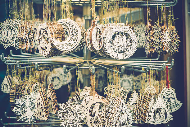 close-up of  christmas decorations at market stand, carinthia, austria - engelsflügel kaufen stock-fotos und bilder