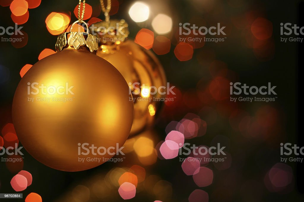 Close-up of Christmas golden ornament balls royalty-free stock photo