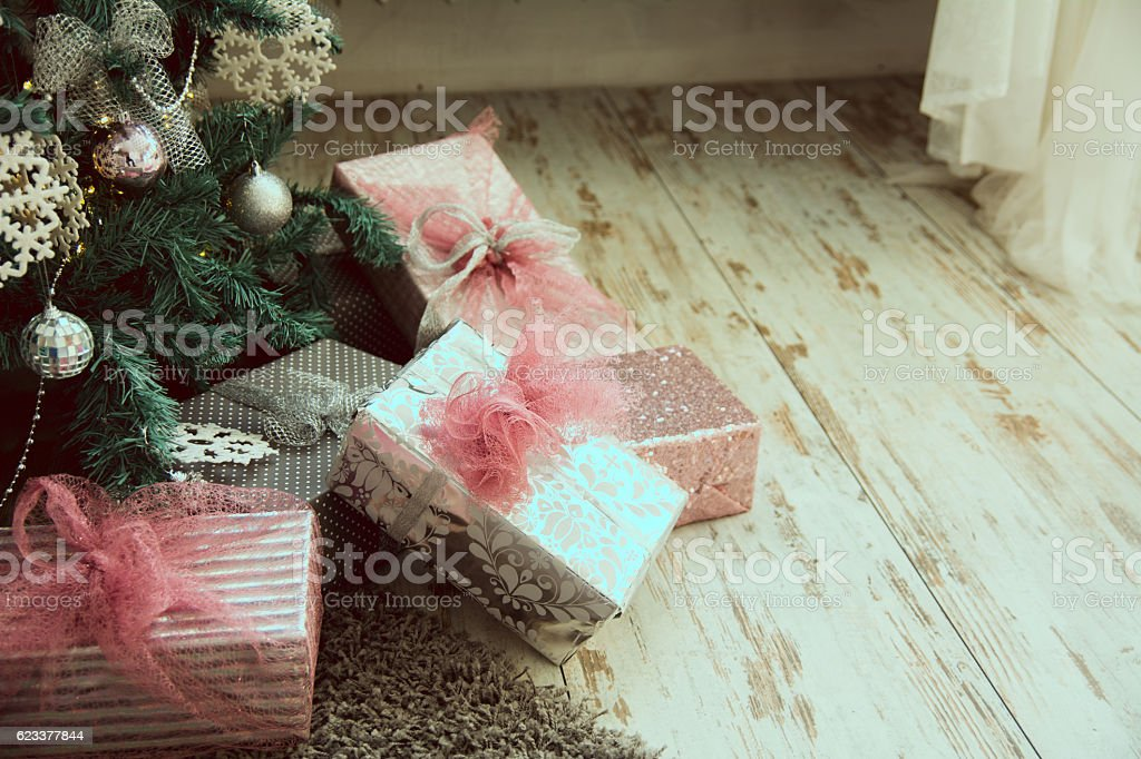Close-up of Christmas presents under stock photo