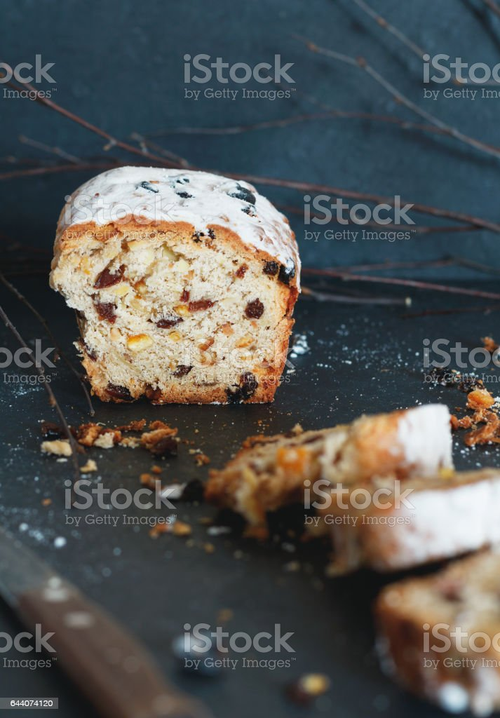 Close-up of Christmas sweet cake Stollen stock photo