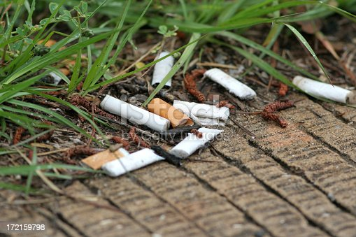 cigarette butts discarded on the side of the road where traffic stops at a red light