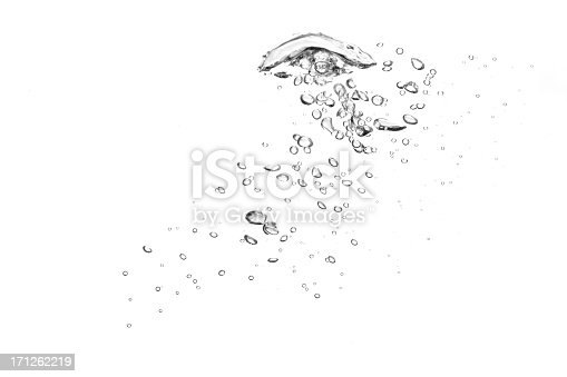 istock Close-up of clear water bubbles in white background 171262219