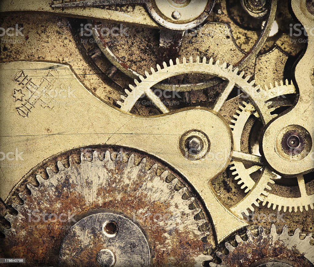 Close-up of clock mechanism stock photo