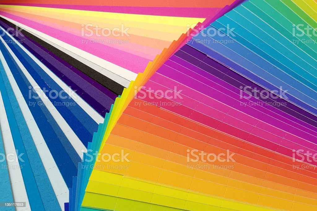 Close-up of CMYK swatch book textured background royalty-free stock photo