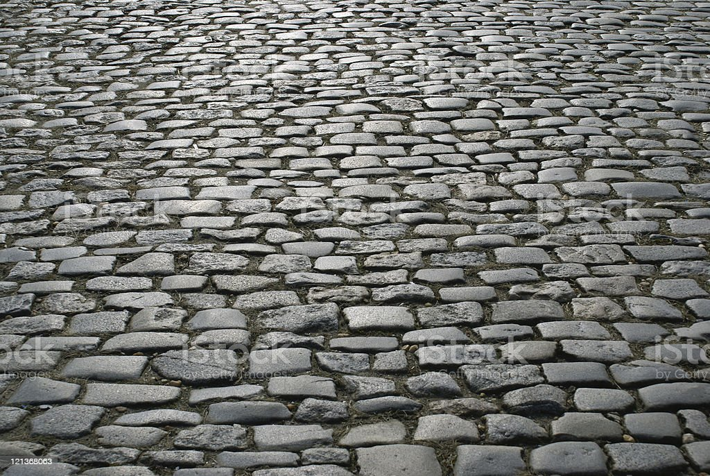 Close-up of cobblestone pathway royalty-free stock photo