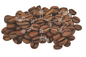 Closeup of coffee beans and highlighted molecule scheme of caffeine