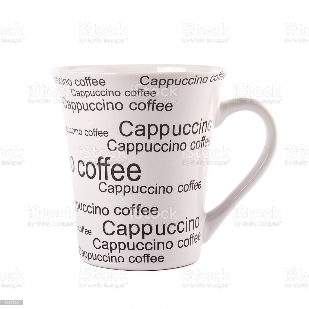 Closeup of coffee mug isolated on white with clipping path stock photo