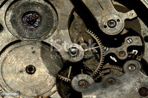 istock Closeup of cogwheels in clockwork ,grunge background for steampunk design 475833982