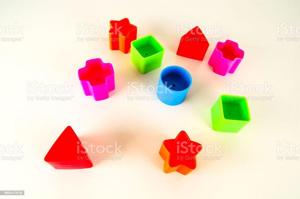 컬러 geometreic 플라스틱 장난감의 클로즈업 - 로열티 프리 0명 스톡 사진