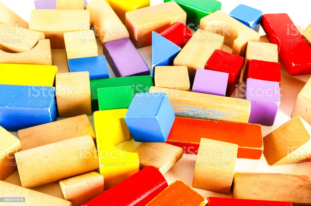 Close-up of colored wooden toy blocks royalty-free stock photo