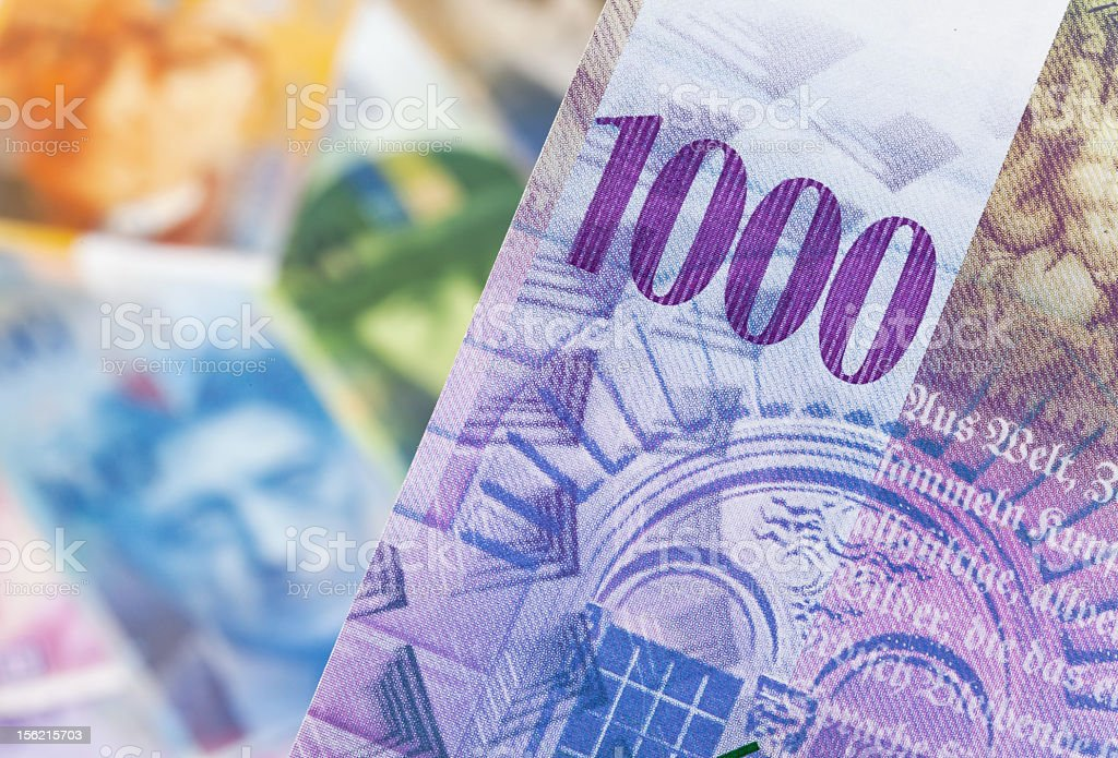 Close-up of colorful a 1000 Switzerland paper currency note stock photo