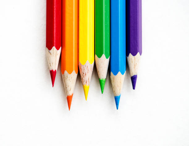 closeup of colorful color pencil stationery - coloured pencil stock photos and pictures