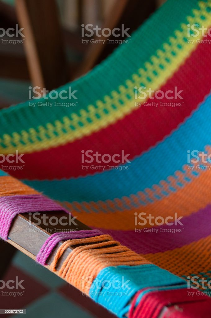 Closeup of Colorful deck chair stock photo