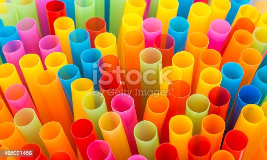 istock Closeup of Colorful drinking straws background. 495021456