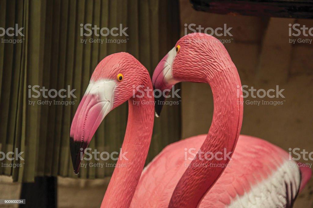 garden flamingos. Close-up Of Colorful Garden Flamingos Statues In Weesp. Royalty-free Stock Photo