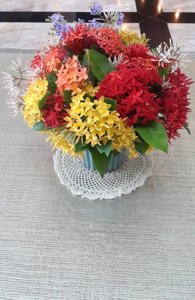 close-up van kleurrijke ixora/west indische jasmijn bloemen boeket in keramische vaas met kopie ruimte. - pauwenkers stockfoto's en -beelden