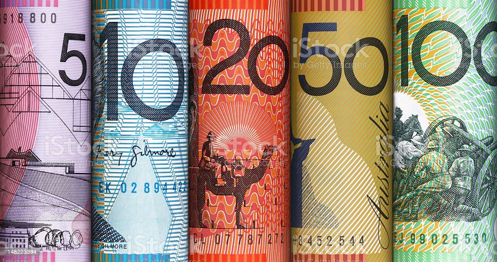Close-up of colorful plastic Australian dollar notes stock photo