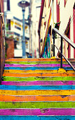 Closeup of colorful staircase in Valparaiso, Chile