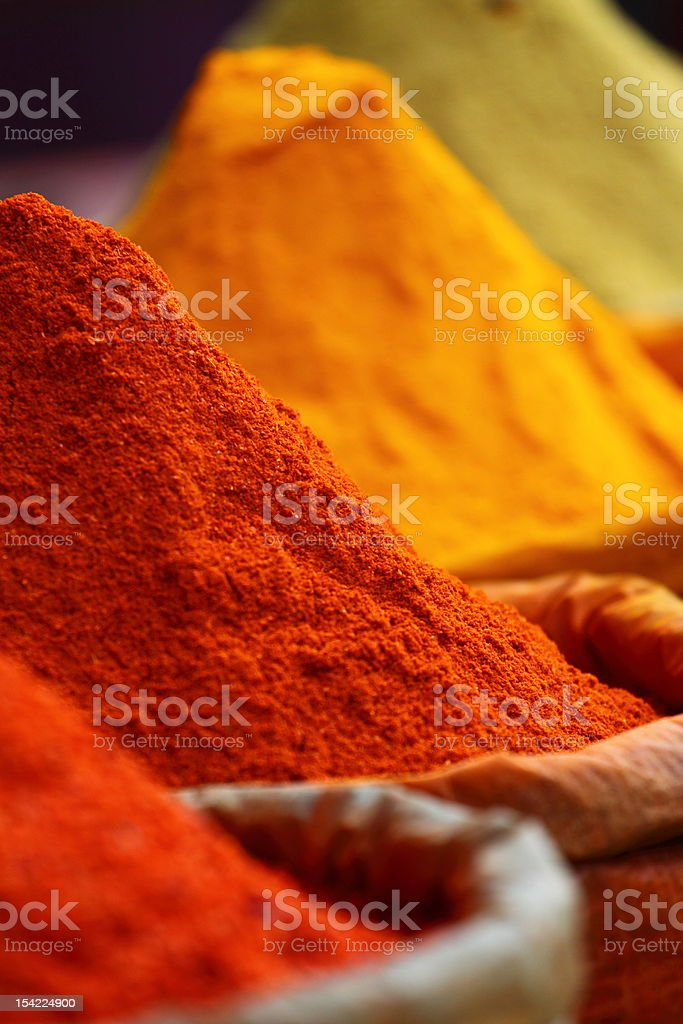 Close-up of colorful traditional spices in the market stock photo