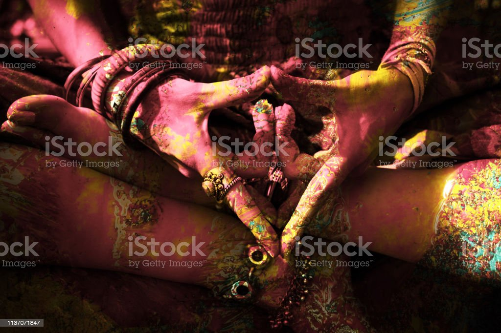 closeup of colorful woman hand in mudra gesture closeup of colorful woman hand in mudra gesture practice yoga outdoor shot Adult Stock Photo
