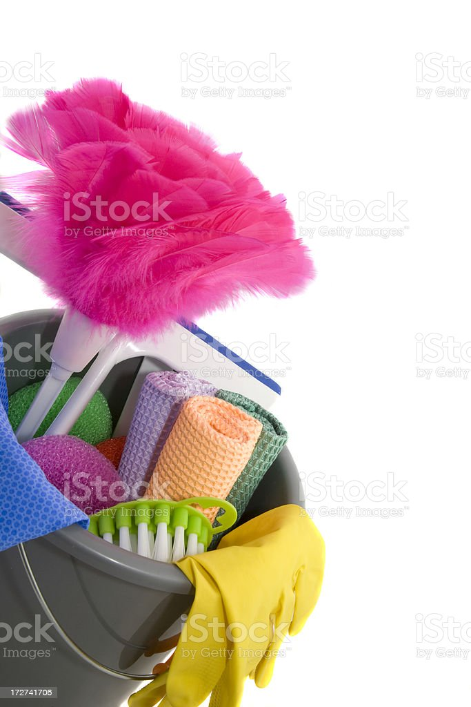 Close-up of Colourful Cleaning Supplies Against White Background royalty-free stock photo