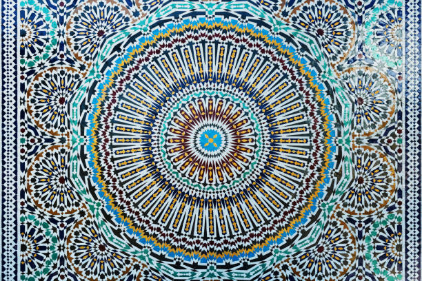 Closeup of colourful, traditional moroccan tiles. stock photo