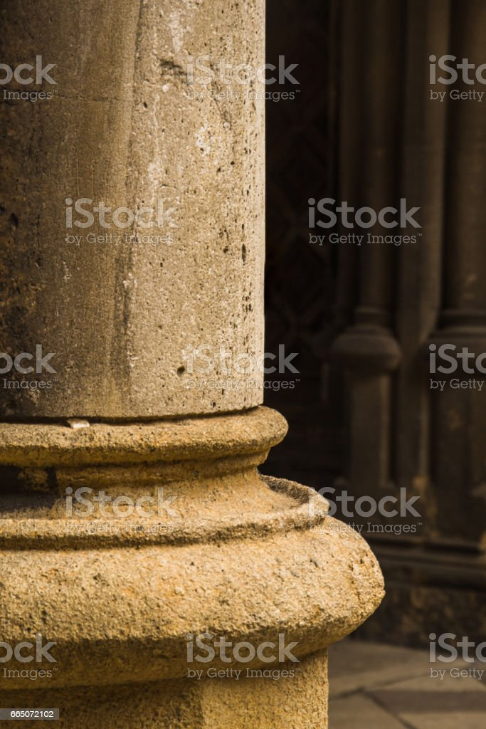 close-up of column of a old building stock photo