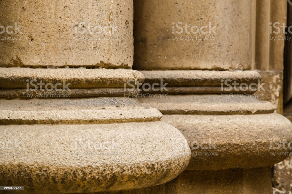 close-up of columns of a old building stock photo