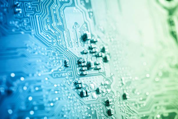 Closeup of computer circuit board stock photo