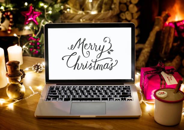 Closeup of computer laptop on Christmas day stock photo