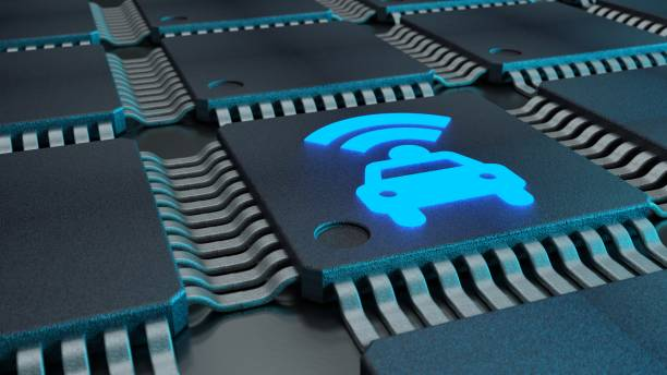 Closeup of connected CPUs with a glowing car and wifi symbol stock photo
