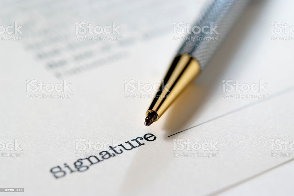 Close-up of contract with ball-point pen royalty-free stock photo