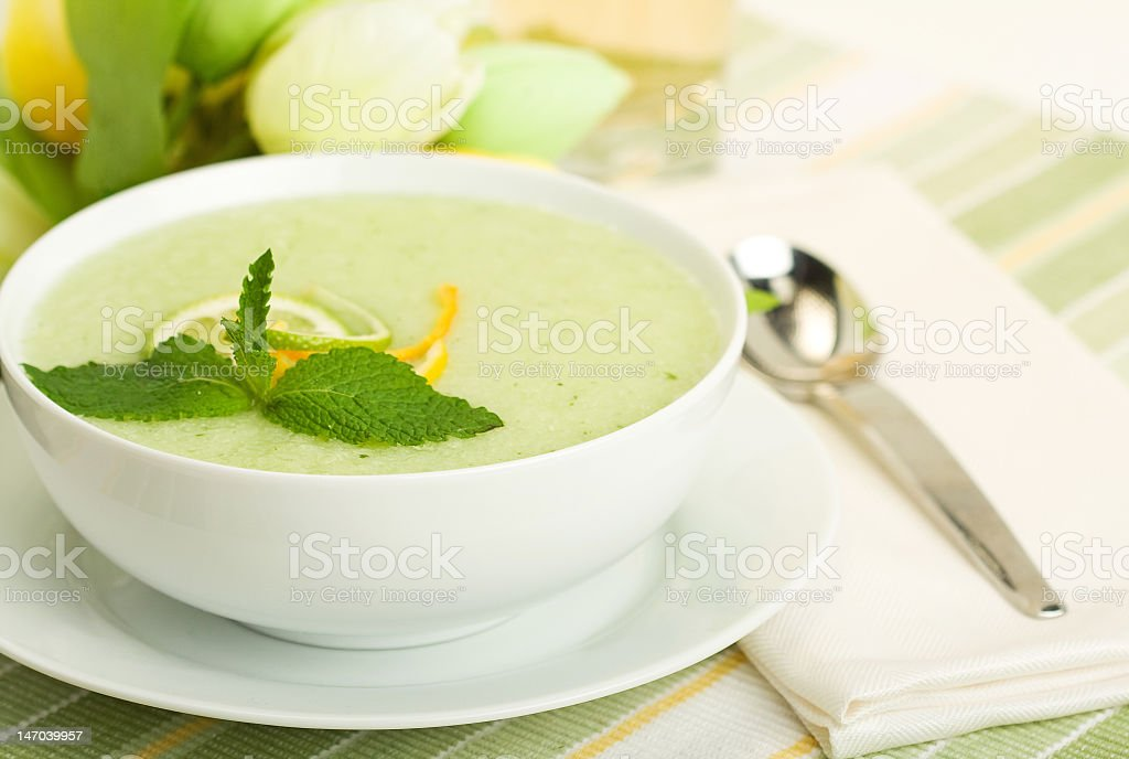 Close-up of cool melon soup in white bowl stock photo