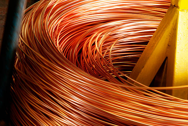 nahaufnahme der copper kabel, hochgekrempelte - metalldraht stock-fotos und bilder
