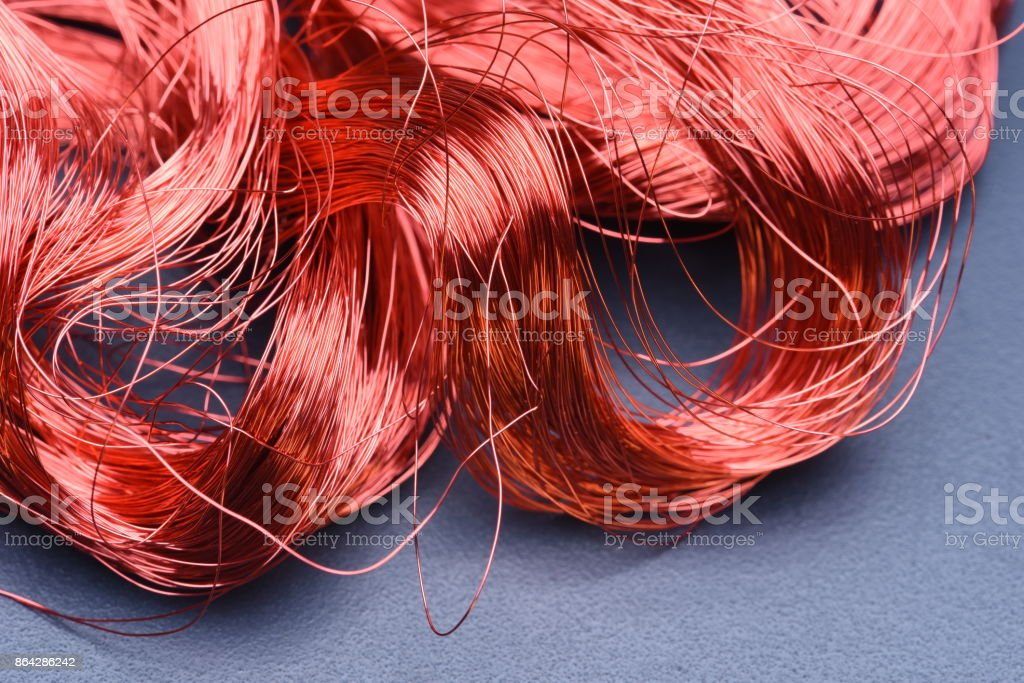 Closeup of Copper Wire on Metal Board royalty-free stock photo