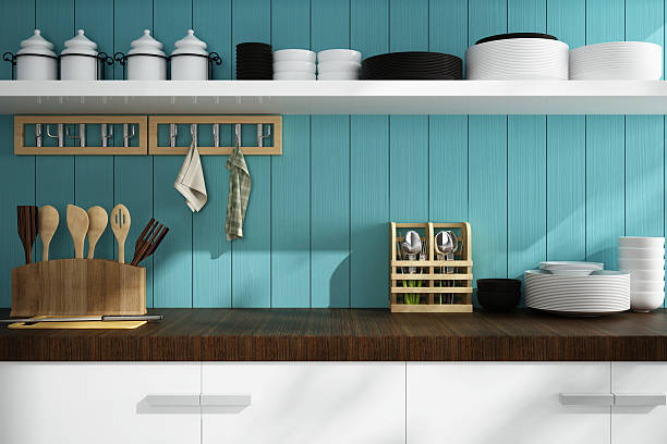 closeup of counter and Kitchen Accessories stock photo
