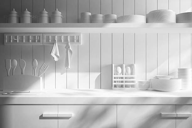 nahaufnahme der theke und küche-accessoires - stoffregal stock-fotos und bilder